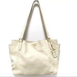 Authentic Prada Satchel White leather Hobo